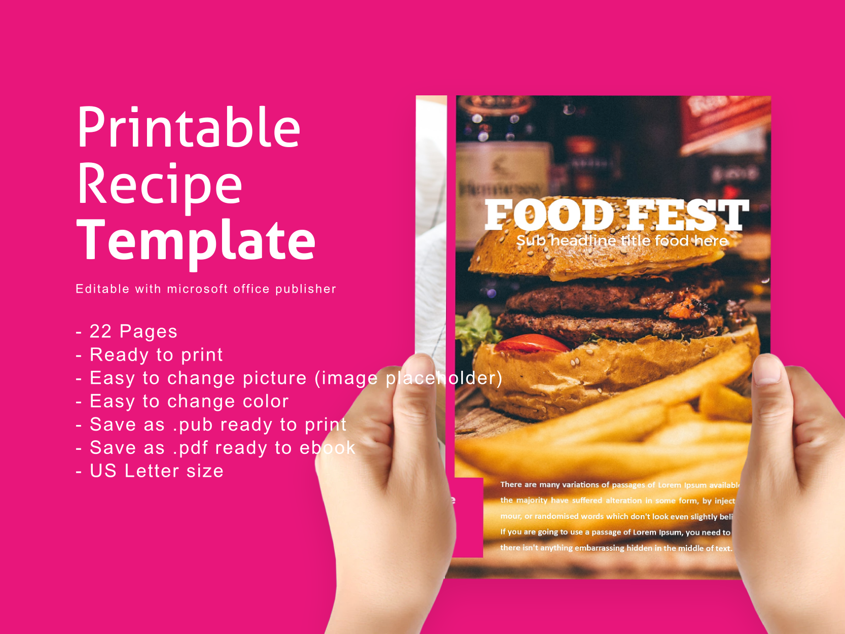Download Free Recipe Ebook Template Editable With Microsoft Publisher Graphic for Cricut Explore, Silhouette and other cutting machines.