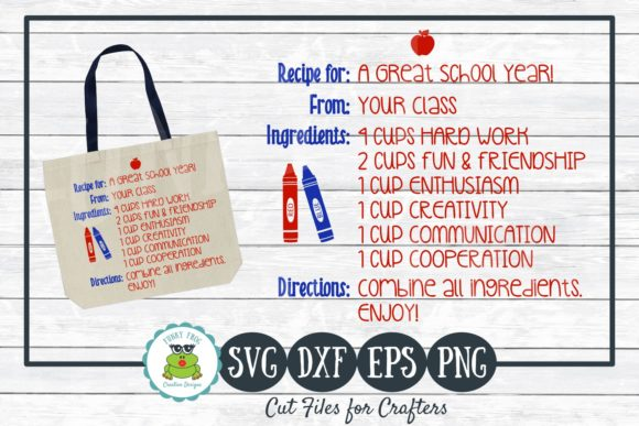 Download Free Recipe For A Great School Year Grafico Por for Cricut Explore, Silhouette and other cutting machines.