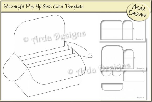 photo about Rectangle Template Printable identify Rectangle Pop Up Box Card CU Template