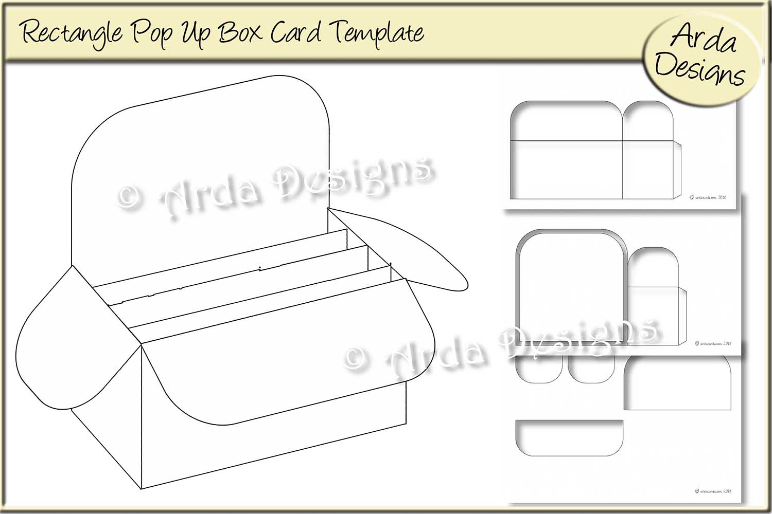 Download Free Rectangle Pop Up Box Card Cu Template Graphic By Arda Designs for Cricut Explore, Silhouette and other cutting machines.