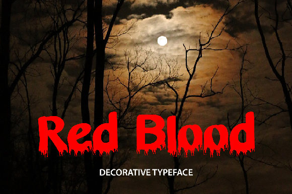 Print on Demand: Red Blood Decorative Font By da_only_aan