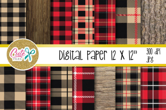 Red Buffalo Plaid Pattern, Lumberjack Digital Paper Graphic Textures By Cute files