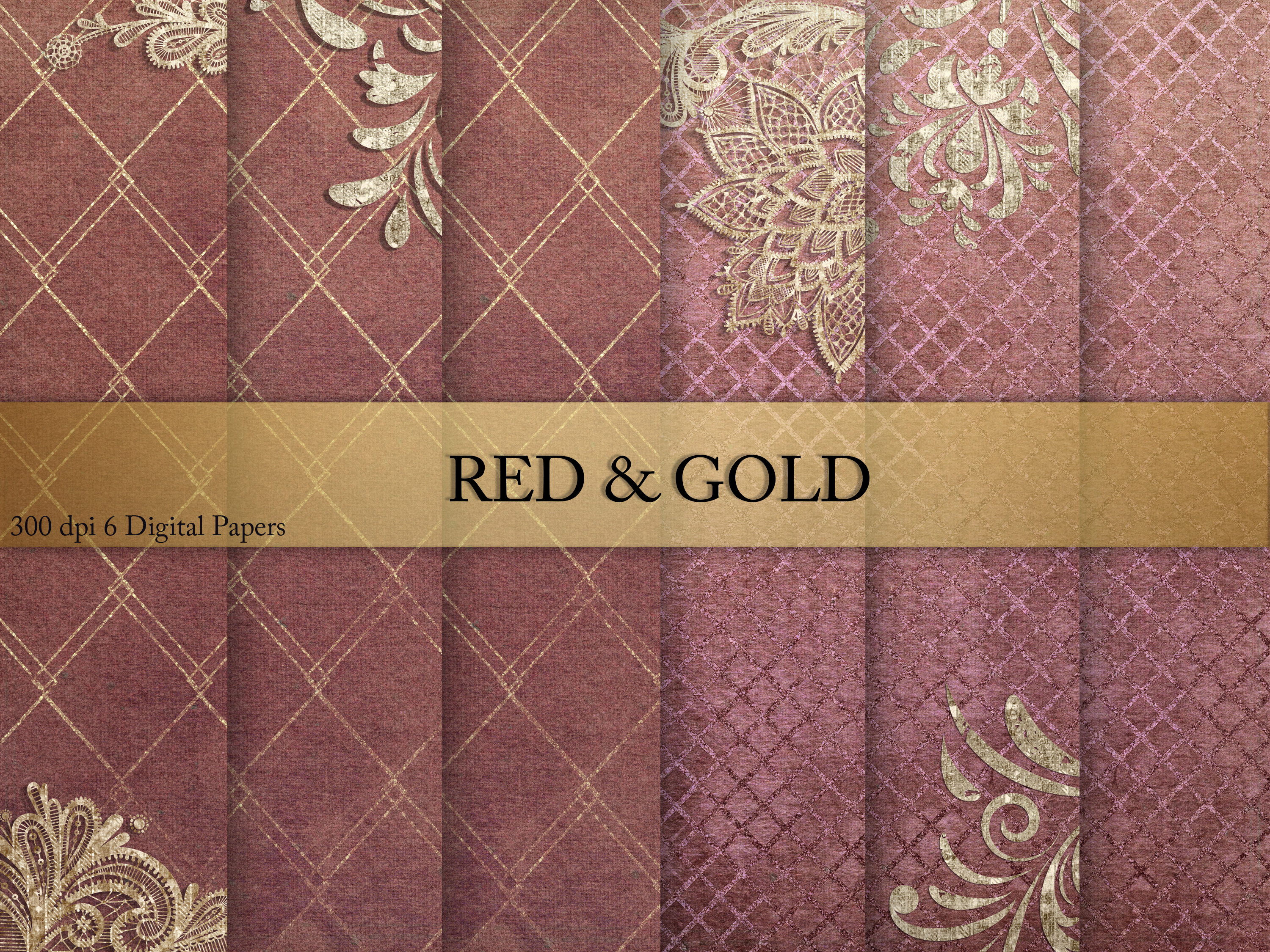 Download Free Red Gold Digital Paper Graphic By Creative Paper Creative for Cricut Explore, Silhouette and other cutting machines.