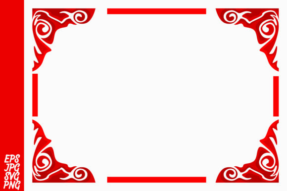Print on Demand: Red Ornament Border Vector Graphic Backgrounds By Arief Sapta Adjie