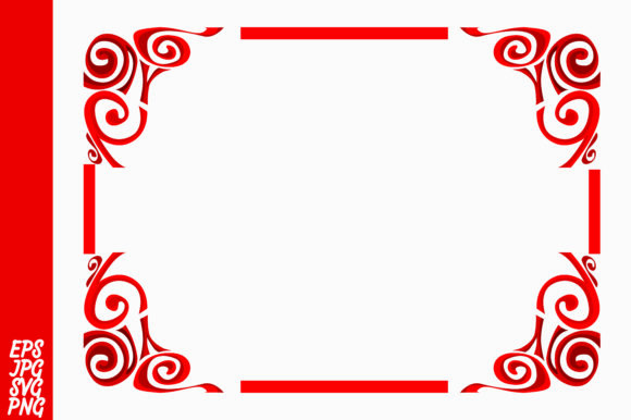 Print on Demand: Red Ornament Border Vector Graphic Illustrations By Arief Sapta Adjie - Image 1