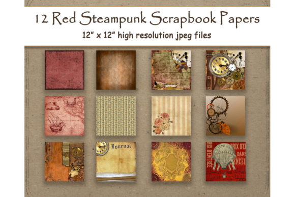 Print on Demand: Red Steampunk Digital Paper Scrapbook Graphic Backgrounds By DigitalPrintableMe