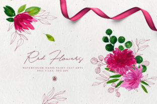 Red Watercolor Flowers Graphic By webvilla