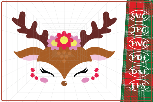 Download Free Reindeer Girl Graphic By Cute Graphic Creative Fabrica for Cricut Explore, Silhouette and other cutting machines.