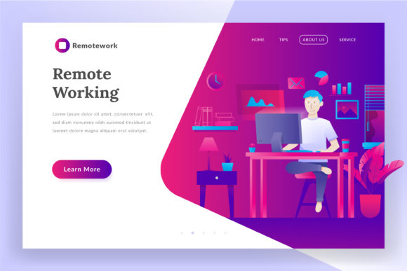 Remote Working Landing Page Illustration Graphic Websites By Fand