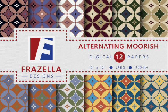 Retro Alternating Moorish Pattern Digital Paper Collection
