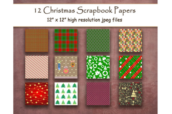 Retro Country Christmas Digital Paper Graphic Backgrounds By DigitalPrintableMe