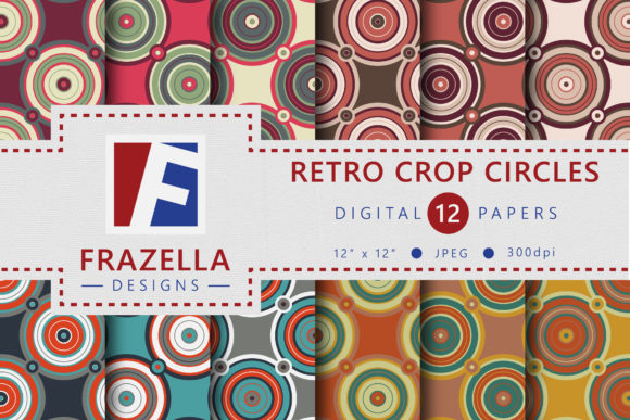 Retro Crop Circles Digital Paper Collection Graphic By Frazella