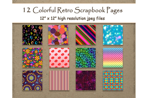Download Free Retro Digital Paper 12 Colorful Pattern Graphic By for Cricut Explore, Silhouette and other cutting machines.