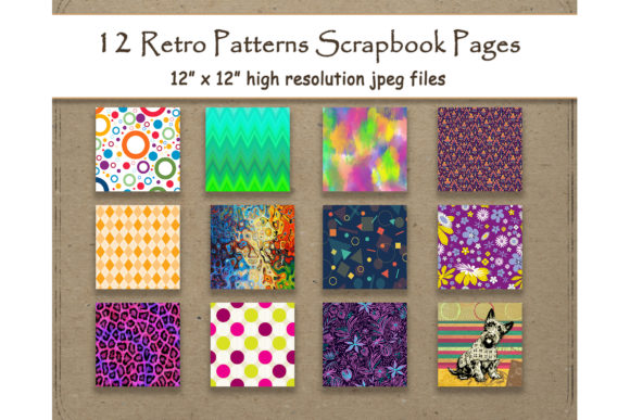 Retro Digital Paper Pattern Scrapbook Graphic By