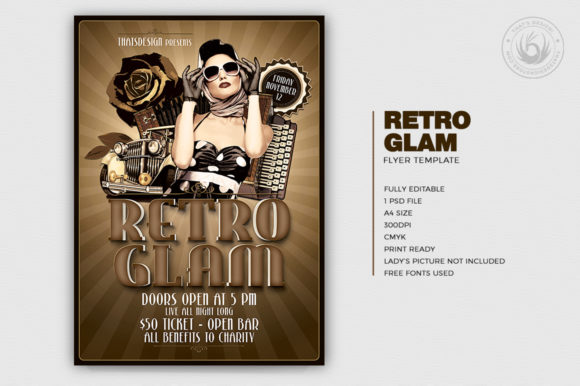 Download Free Retro Glam Flyer Template V1 Grafico Por Thatsdesignstore for Cricut Explore, Silhouette and other cutting machines.