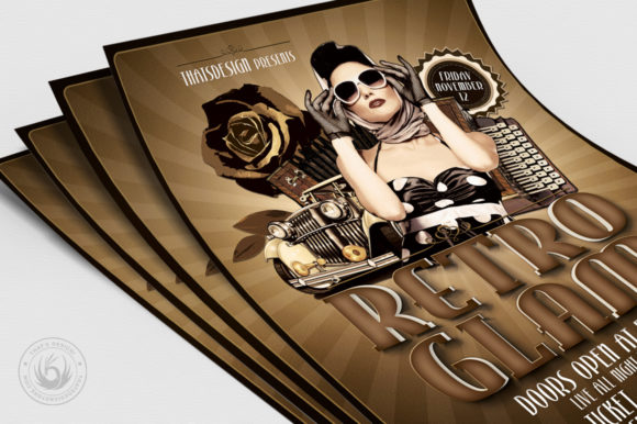 Retro Glam Flyer Template V1 Graphic By ThatsDesignStore Image 5