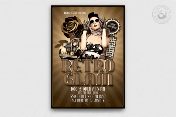 Retro Glam Flyer Template V1 Graphic By ThatsDesignStore