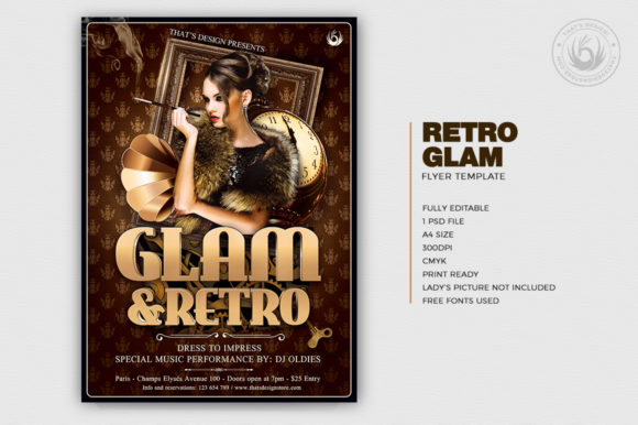 Retro Glam Flyer Template V2 Graphic By ThatsDesignStore Image 2