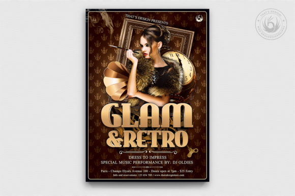 Retro Glam Flyer Template V2 Graphic By ThatsDesignStore