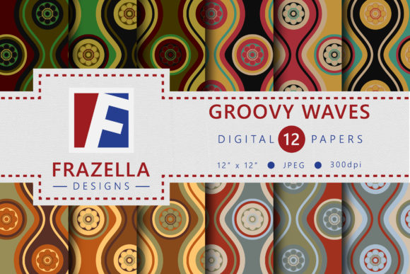 Retro Groovy Waves Vintage Digital Paper Collection Graphic By