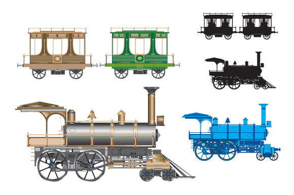 Print on Demand: Retro Cars and Trains Graphic Icons By AlexZel - Image 5