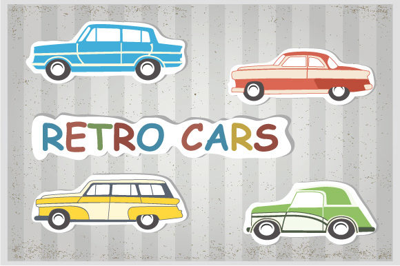 Print on Demand: Retro Cars and Trains Graphic Icons By AlexZel