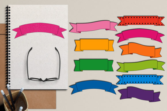 Print on Demand: Ribbon Banners Graphic Illustrations By Revidevi