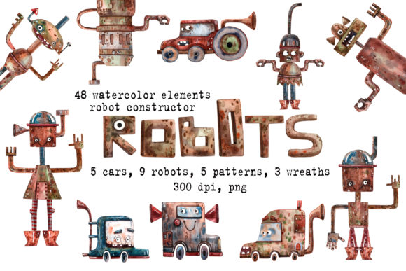 Robots Watercolor Clip Art Set Graphic Illustrations By mashamashastu