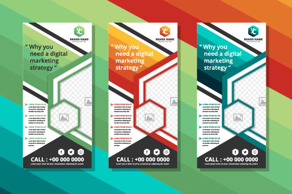 Print on Demand: Roll Up Banner Polygonal Hexagon Graphic Websites By noory.shopper - Image 1