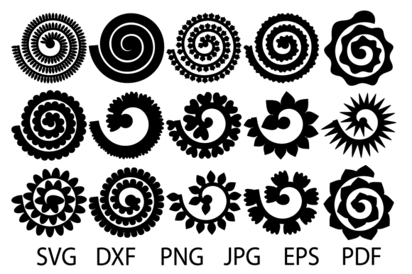 Print on Demand: Rolled Flower, Flowers Template Grafik Plotterdateien von yulnniya