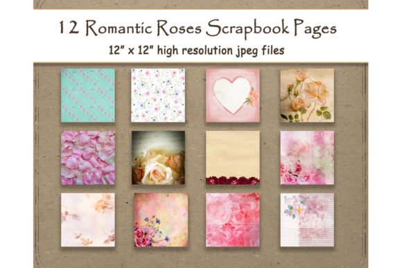 Print on Demand: Romantic Roses Digital Paper Layout Graphic Backgrounds By DigitalPrintableMe - Image 1