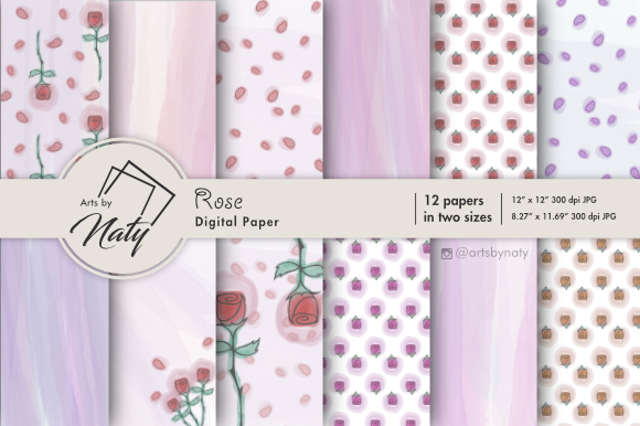 Print on Demand: Rose Flower Digital Paper Graphic Illustrations By artsbynaty
