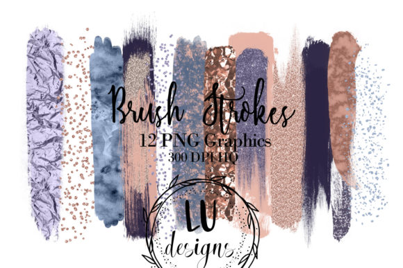 Rose Gold and Blue Brush Strokes Clipart Graphic Objects By Lu Designs