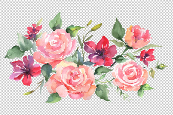 Download Free Roses Bouquet Joy Of Love Watercolor Graphic By Mystocks for Cricut Explore, Silhouette and other cutting machines.