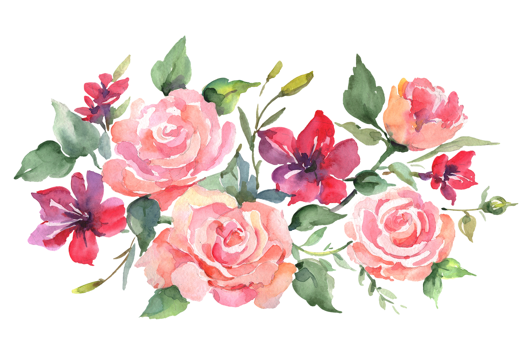 Download Free Roses Bouquet Joy Of Love Watercolor Grafik Von Mystocks for Cricut Explore, Silhouette and other cutting machines.
