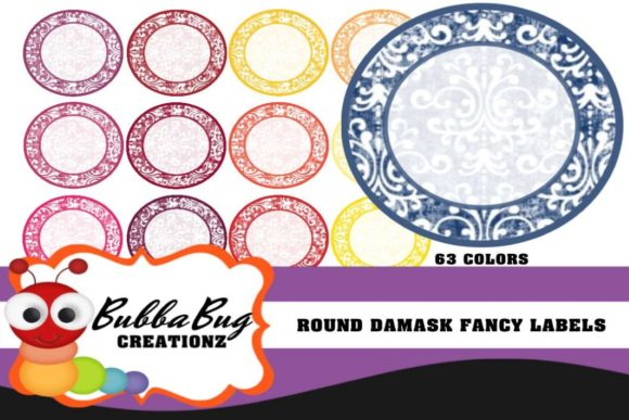Round Damask Fancy Labels Graphic Crafts By BUBBABUG
