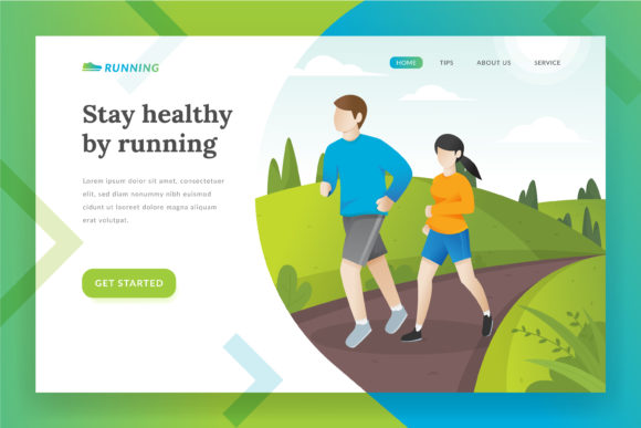 Download Free Running Landing Page Illustration Graphic By Irfanfirdaus19 for Cricut Explore, Silhouette and other cutting machines.