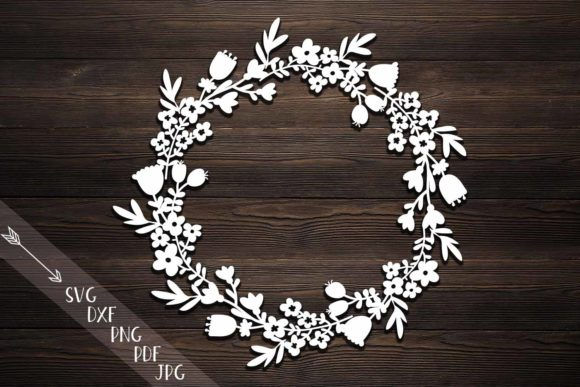 Download Free Rustic Flower Wreath Paper Svg Laser Cut Grafik Von Cornelia for Cricut Explore, Silhouette and other cutting machines.