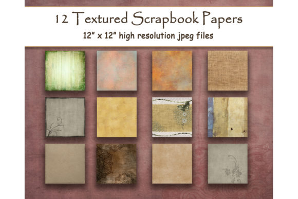Print on Demand: Rustic Textured Digital Papers Scrapbook Graphic Backgrounds By DigitalPrintableMe