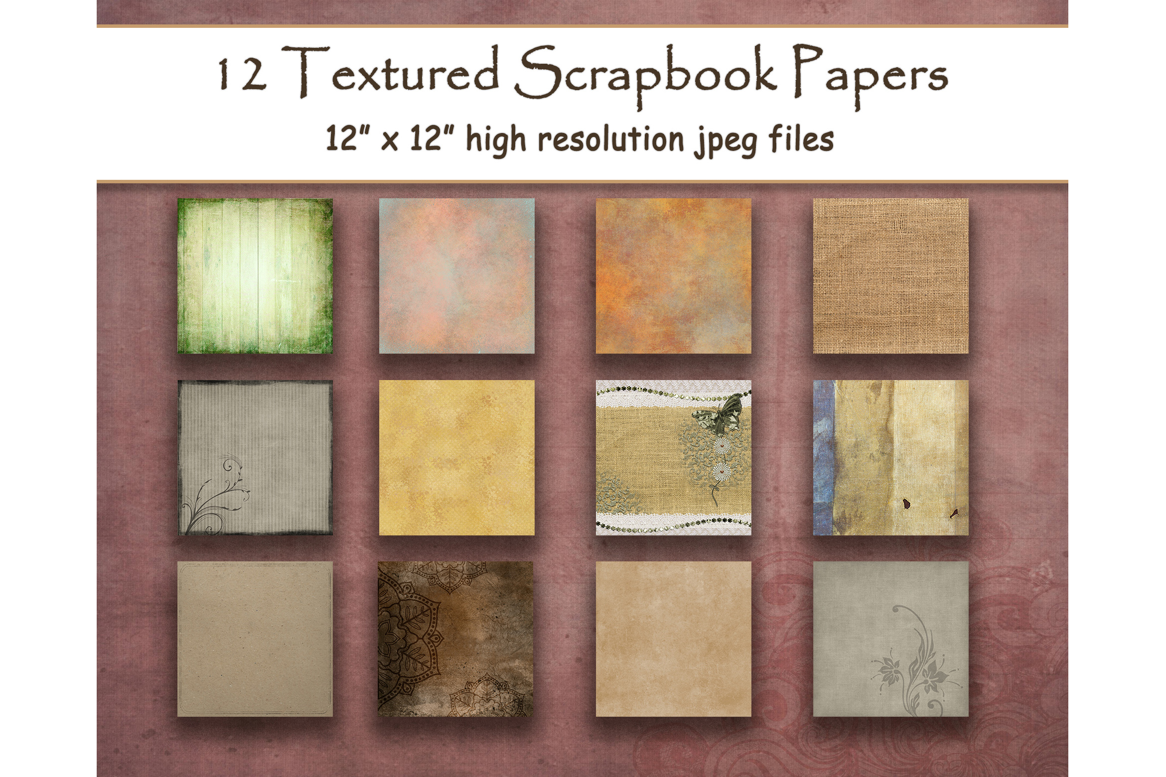 Download Free Rustic Textured Digital Papers Scrapbook Graphic By for Cricut Explore, Silhouette and other cutting machines.