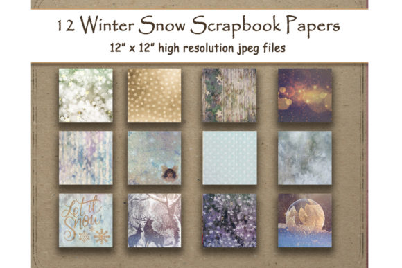 Print on Demand: Rustic Winter Snowflake Digital Papers Graphic Backgrounds By DigitalPrintableMe