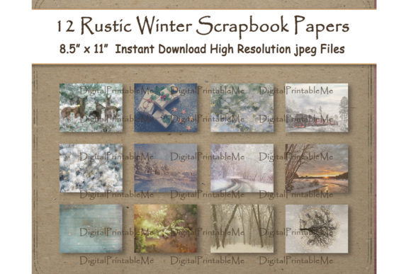 Print on Demand: Rustic Winter Woodland Digital Paper Set Grafik Hintegründe von DigitalPrintableMe
