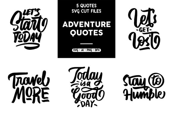 Print on Demand: SVG 5 Adventure Quotes Graphic Crafts By goodjavastudio