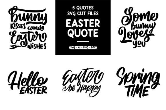 SVG 5 Easter Quotes Graphic By goodjavastudio
