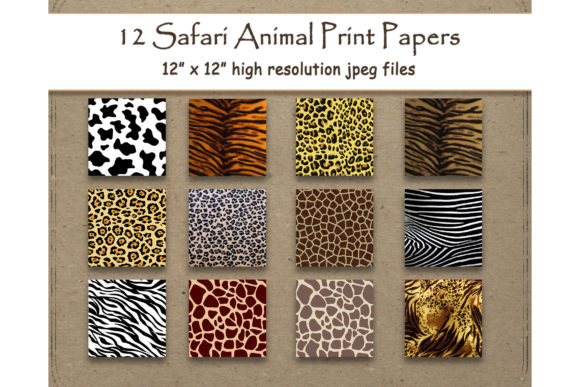 Print on Demand: Safari Animal Print Scrapbook Paper Set Graphic Backgrounds By DigitalPrintableMe - Image 1