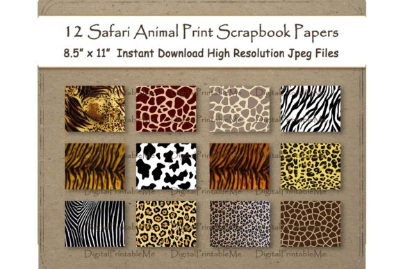 Download Free Safari Animal Print Scrapbook Paper Set Graphic By for Cricut Explore, Silhouette and other cutting machines.