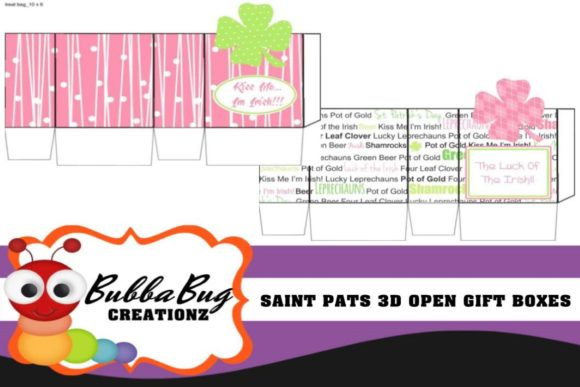 Saint Pats 3D Open Boxes Graphic Crafts By BUBBABUG
