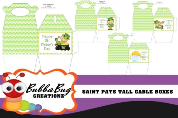 Saint Pats Tall Gable Boxes Graphic Crafts By BUBBABUG