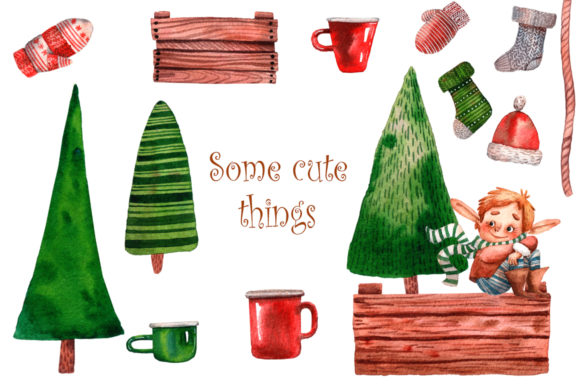 Download Free Santa S Little Helpers Watercolor Set Graphic By Mashamashastu for Cricut Explore, Silhouette and other cutting machines.