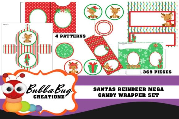 Santas Reindeer Mega Candy Wrapper Set Graphic Crafts By BUBBABUG - Image 1